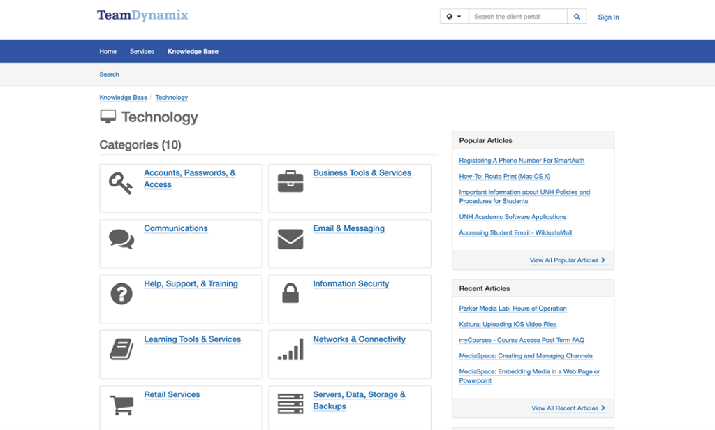 Home page for the UNH IT Knowledge base