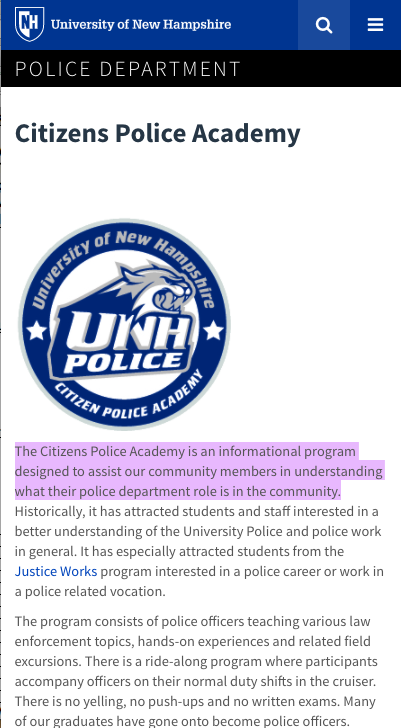 UNH Citizens Police Academy - mobile