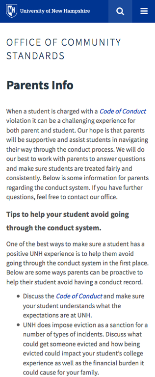 Code of Conduct Parent Info - mobile