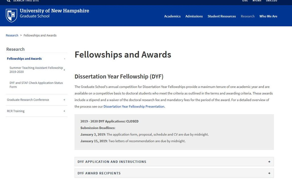 dissertation year fellowship unh